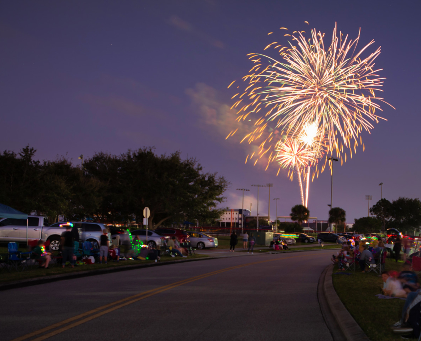 Fireworks exploding over Viera