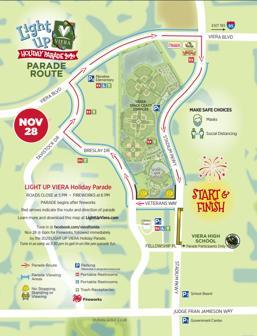 Lightup Viera Parade Route Map 2020
